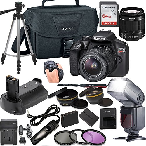 Canon EOS Rebel T6 DSLR Camera w/ 18-55mm Lens + LCD Display TTL SpeedLight Flash + Power Grip + 64GB Memory + Canon Case + Tripod + Remote + More - Professional Bundle by Canon