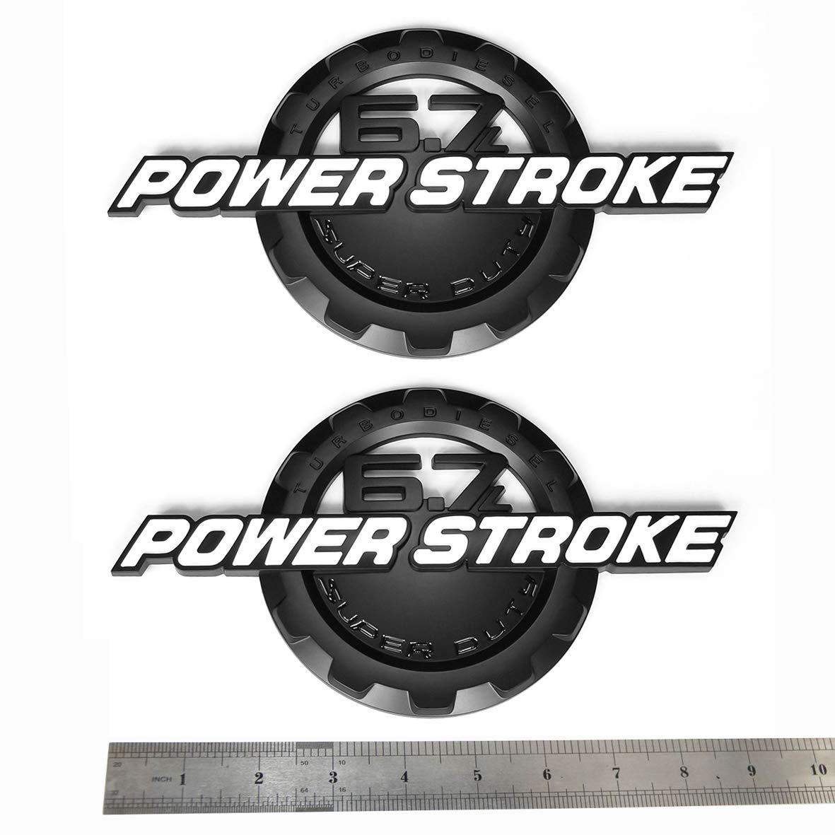 2x OEM Black 6.7L POWER STROKE SUPER DUTY Side Fender Emblems Badge Powerstroke 3D logo Replacement for F250 F350 White Sanucaraofo