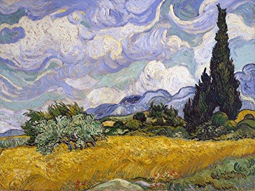 - Wheat Field with Cypresses by Vincent van Gogh Accent Tile Mural Kitchen Bathroom Wall Backsplash Behind Stove Range Sink Splashback One Tile 8