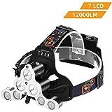 WZTO Linterna Frontal LED USB Recargable, IP65 Impermeable 1700 Lúmenes 4 Modos de Iluminación Lámpara de Cabeza para…