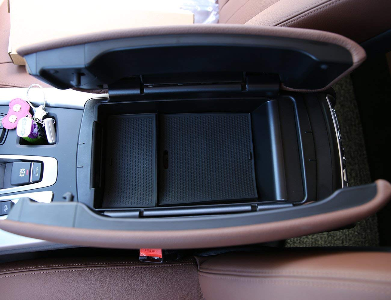 Armrest Storage Box Phone Glove Tray With Mat LOGO Accessories for BMW X5 X 6 F15 F16 2014-2017 Autobro