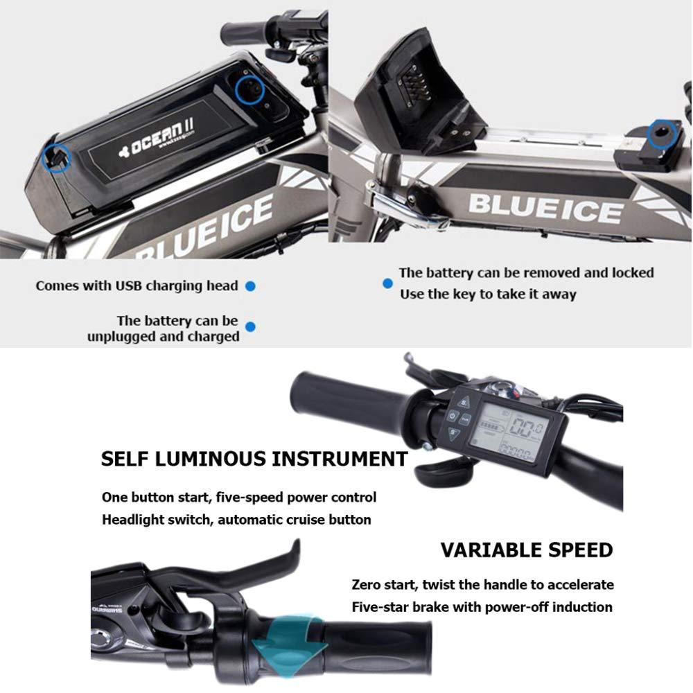 YRWJ Coche Eléctrico Plegable De La Bicicleta De Montaña Eléctrica De 26 Pulgadas con La Exhibición del LCD Citybike para Hombre Al Aire Libre (batería De ...