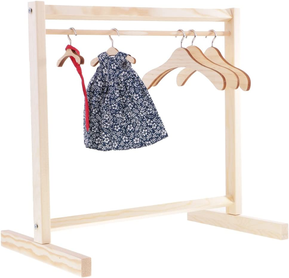 DYNWAVE 1/6 1/4 1/3 Doll Dress Coat Jacket Organization Shelf with 10pcs Clothes Hangers for Blythe 8-12inch Dolls Dollhouse Accessories and Furniture