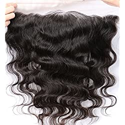 """Free Part Ear To Ear 13x4"""" Full Lace Frontal Closure Body Wave Bleached Knots With Baby Hair Unprocessed Brazilian Virgin Best Remy Human Hair Front Closures Top Extensions 16 inches Natural Color"""