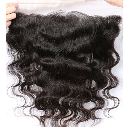 "Free Part Ear To Ear 13x4"" Full Frontal Lace Closure Body Wave Bleached Knots With Baby Hair Unprocessed Brazilian Virgin Best Remy Real Human Hair Front Closures Top Extensions 8 inches Natural Color"
