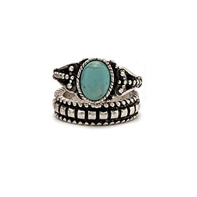 Young /& Forever Girls Boho Gypsy Sterling Silver Elephant Turquoise Stone Midi Ring Set of 5