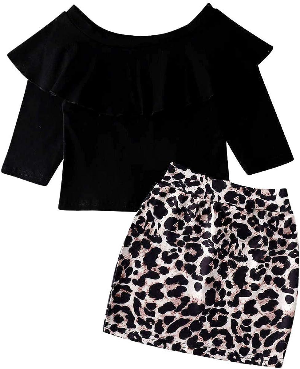 Conjunto de Falda de Manga Larga y Falda con Estampado de Leopardo ...