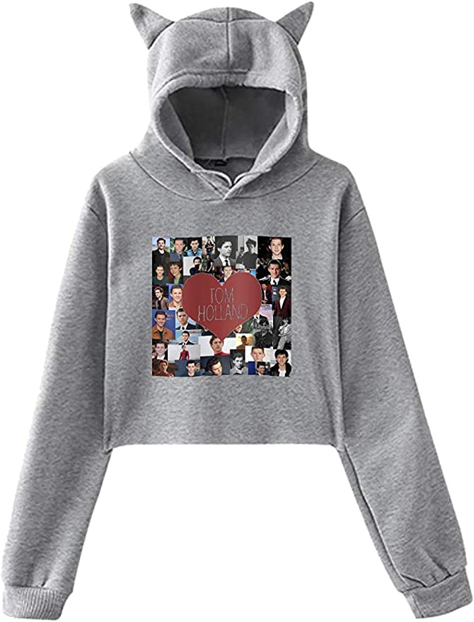 engzhoushi Donna Felpa con Cappuccio Tom Holland Hoodie Cat Ear Hoodie Casual Long Sleeve Sweater with HD Image Print