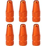 VORCOOL 6pcs Bike Valve Caps Aluminum Alloy French Style Bicycle Bike Tire Valve Caps Dust Covers Orange