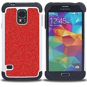 """SAMSUNG Galaxy S5 V / i9600 / SM-G900 - 3 en 1 impreso colorido de Altas Prestaciones PC Funda chaqueta Negro cubierta gel silicona suave (Decoración de Navidad del brillo de la chispa"""")"""
