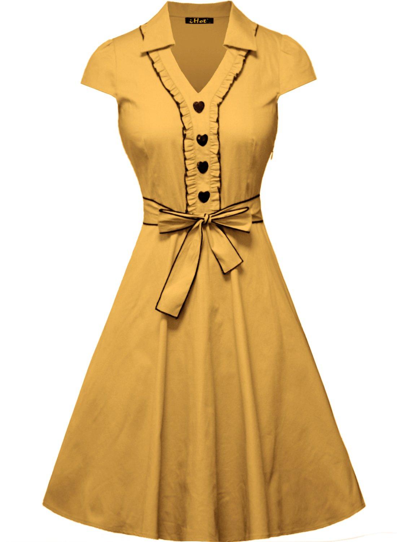IHOT Women's 1950s Cap Sleeve Swing Vintage Party Dresses Yellow,Large
