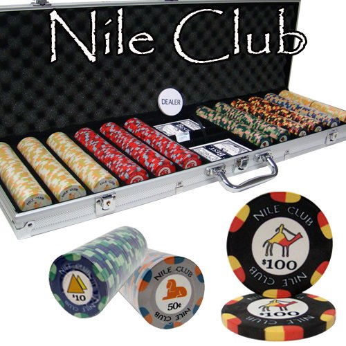 - 600 Ct Nile Club 10 Gram Ceramic Poker Chip Set