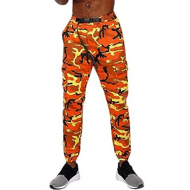 Dangslxm Men s Casual Slim Fit Camo Jogger Cargo Pants Multi-Pockets  Adjustable Belted Trousers ( de450f20b50