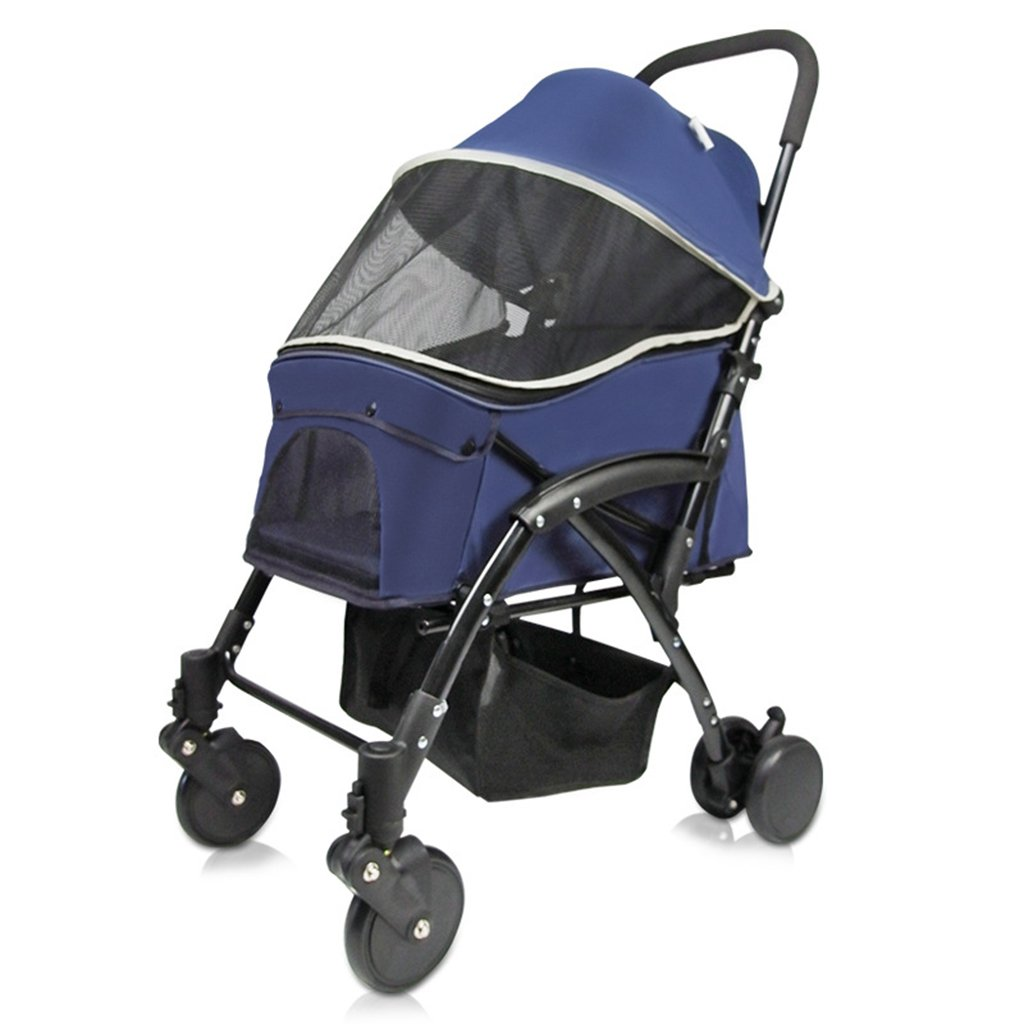 bluee Four Wheel Pet Stroller Lightweight Foldable Removable Dog Cat Travel Carrier Strolling Cart Tri-Fold. Cacoffay