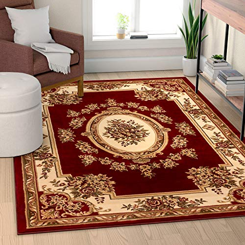 - Well Woven Timeless Le Petit Palais Red Traditional Area Rug 9'2