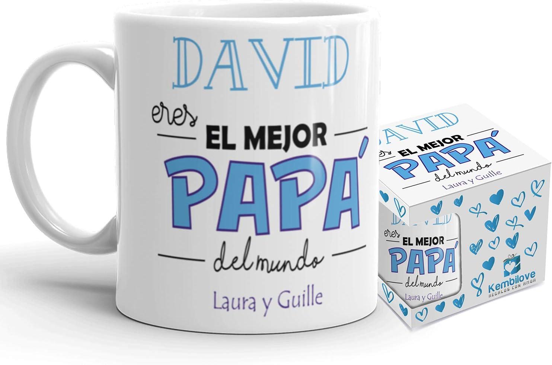 Kembilove Taza de Café Padre Personalizada – Taza de Desayuno Eres el Mejor Papá con Nombre Personalizado – Tazas de Café y Té para Papas – Taza de Cerámica Impresa – Regalo Original Taza de 350 ml