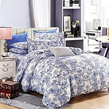 Vaulia Lightweight Microfiber Duvet Cover Set, Blue Floral Pattern Design, - Full/Queen Size