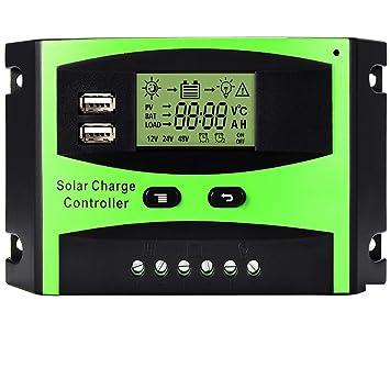 Régulateur de panneau solaire MOHOO Régulateur de charge solaire  intelligent 12V   24V LCD avec Port 8b7597b5d92d