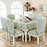 HuaShao HuaShaoThe Simplicity Of The Rectangular Living Room, Dining Table And Chairs Set Sewing Kit Home Chairs And Cover, The Tulip Green 4 4 Against The &180Cm Diameter Round Table Cloth