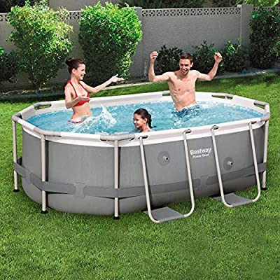 Bestway Power Steel - Piscina para Exteriores, Color Gris: Amazon ...