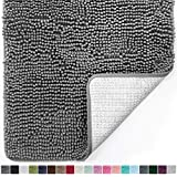 Gorilla Grip Original Luxury Chenille Bathroom Rug Mat (30 x 20), Extra Soft & Absorbent Shaggy Rugs, Machine Wash/Dry, Perfect Plush Carpet Mats for Tub, Shower, and Bath Room (Gray)