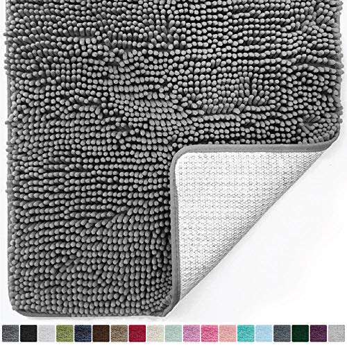 (Gorilla Grip Original Luxury Chenille Bathroom Rug Mat (44 x 26), Extra Soft and Absorbent Large Shaggy Rugs, Machine Wash/Dry, Perfect Plush Carpet Mats for Tub, Shower, and Bath Room (Gray))
