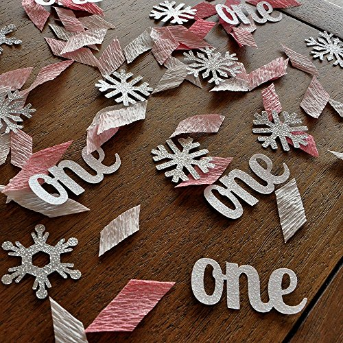 Winter Onederland Party Decorations. 2 Packs. Baby Pink, White and Silver Party Decorations.One and Snowflake Confetti Mix. -