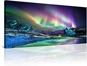 RUISHI Aurora Borealis Large Wall Art Canvas Northern Lights Prints Boys Bedroom Pictures Wall Decor Nature Painting Artwork for Living Kids Room Office Wall Decoration Scenery(30x60inx1)