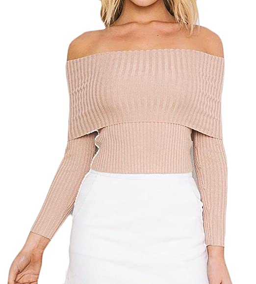 a3a9c8f453 Yayu Womens Off Shoulder Long Sleeve Rib-Knit Slim Pullover Sweater Apricot  X-Small
