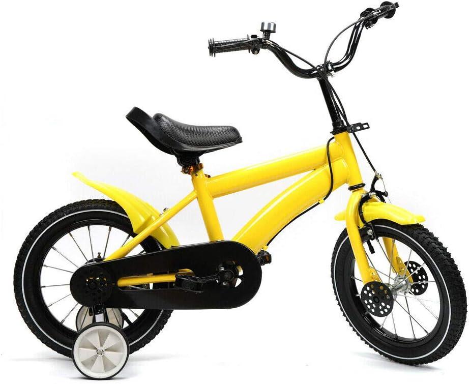 Bicicleta infantil de 14 pulgadas, con ruedas estabilizadoras extraíbles, para niños y niñas, 3 ruedas, a partir de 3 – 6 años