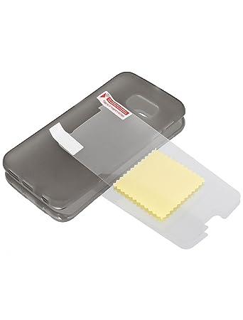 Amazon.com: eDealMax Volver cubierta de la caja del Protector gris w película protectora de limpiaparabrisas Para S6 / G925: Electronics