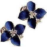 Demarkt Fashion Elegant Cute Lady Girls Blue Flower Crystal Ear Stud Earrings