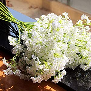 VOLUEX 20PCS Baby Breath Artificial Flower Gypsophila, Real Touch Bouquets Wedding Home Decor Gift 12