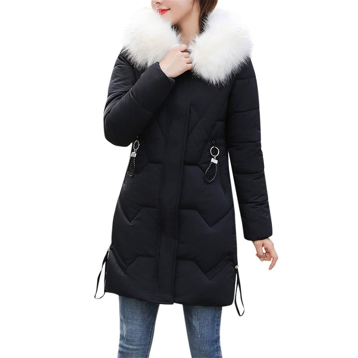 Thenxin Women's Winter Warm Hooded Jacket Coat Faux Fur Collar Basic Parka Puffer Coats(Black,M) by Thenxin
