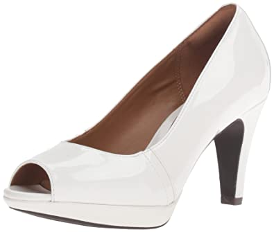 3cbd7b3e5a95 CLARKS Women s Narine Rowe Platform Pump White Synthetic Patent 9.5 ...