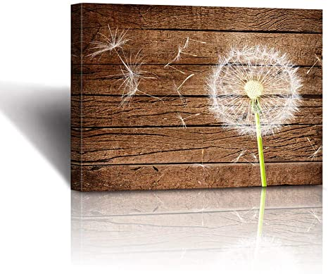Amazon Com Rustic Home Decor The Dandelion Vintage Wood Background Neutral Floral Picture Stretched And Framed Farmhouse Bathroom Decor Wall Art Canvas Wall Decoration For Bedroom Office Decoration Living Room P Posters