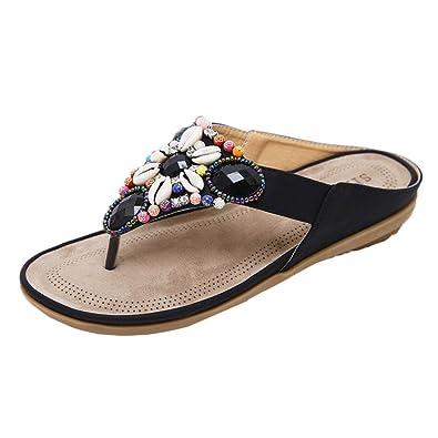 8cce00016 Lolittas Beach Leather Flip Flops Women Ladies,Retro Boho Jewelled Beaded  Pearl Floral Personalised Slim