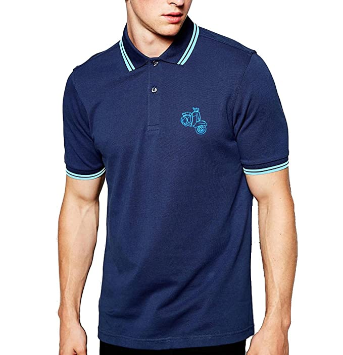 Vespa Scooter Top Quality Embroidered Polo Shirt - Polo para Hombre.
