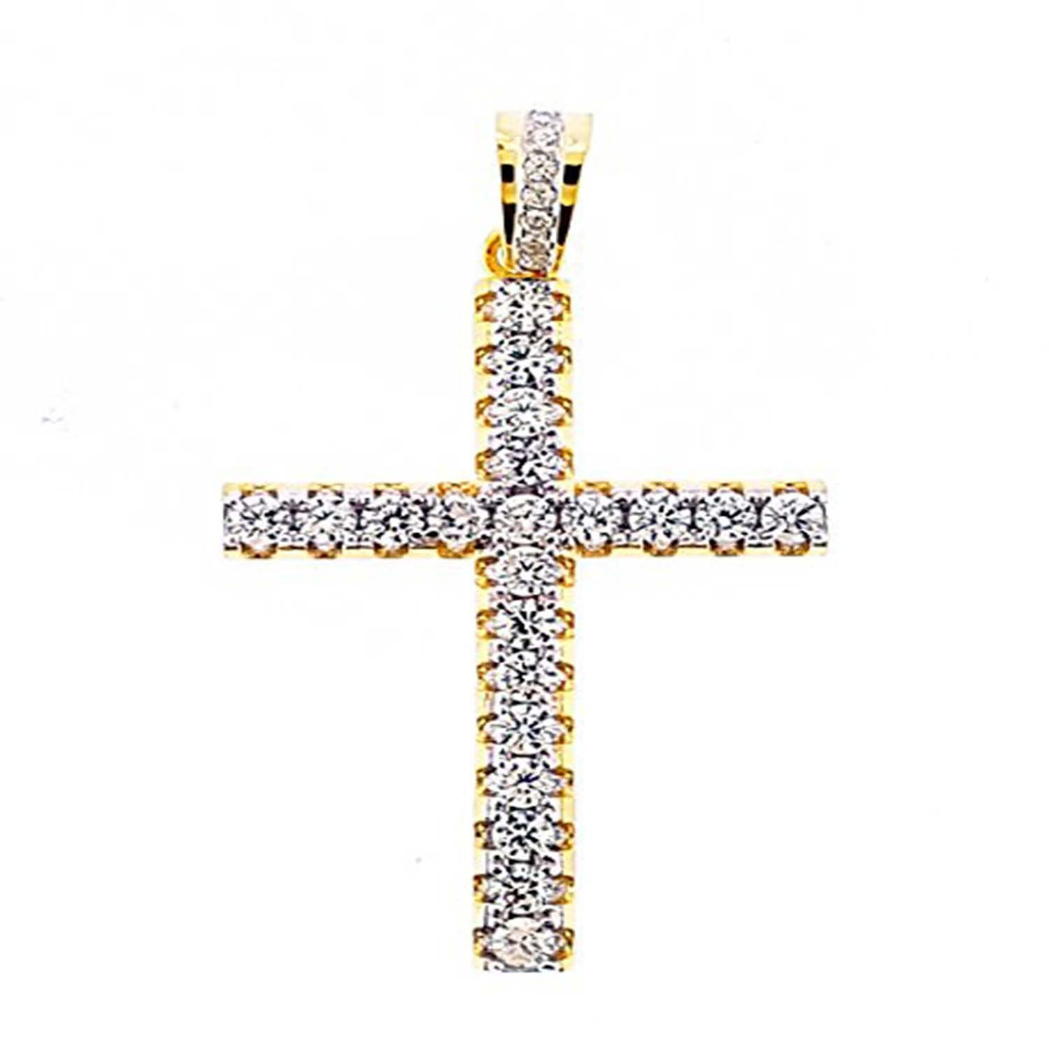 14K Yellow Gold Plated Simulated Diamond Studded Fashion Pendant Necklace With Chain Jewelry