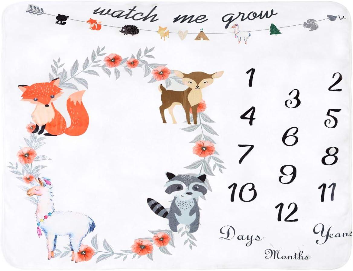Haokaini couverture mensuelle mensuelle de b/éb/é toile de fond de photographie animale emmailloter couverture cadeau de shower de b/éb/é