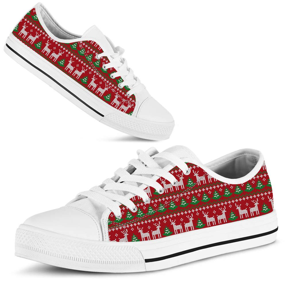 f51d1b692b790 Amazon.com: Hand Painted Printed Canvas Shoe Christmas Reindeer Red ...