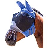 Shires Deluxe Fly Mask with Nose Fringe Royal Blue Cob