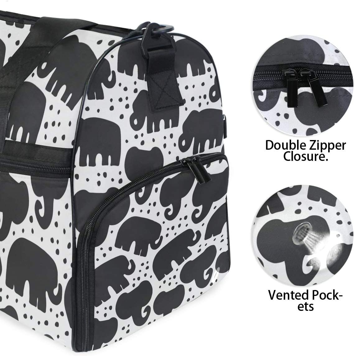 Indian Elephant Sports Gym Bag with Shoes Compartment Travel Duffel Bag for Men and Women