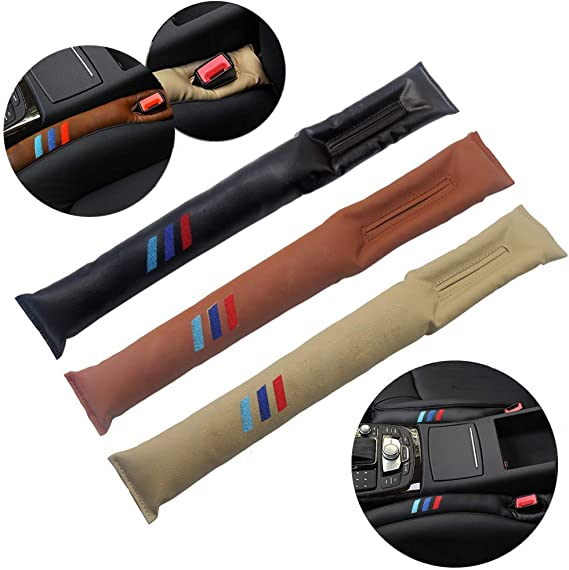 AniFM 2pcs Car Seat Gap Filler Space Pad Artificial PU Leather for BMW 4 3 2 1 series E39 F30 F20 F32 X1 F48 F45 Interior Acessories,Black