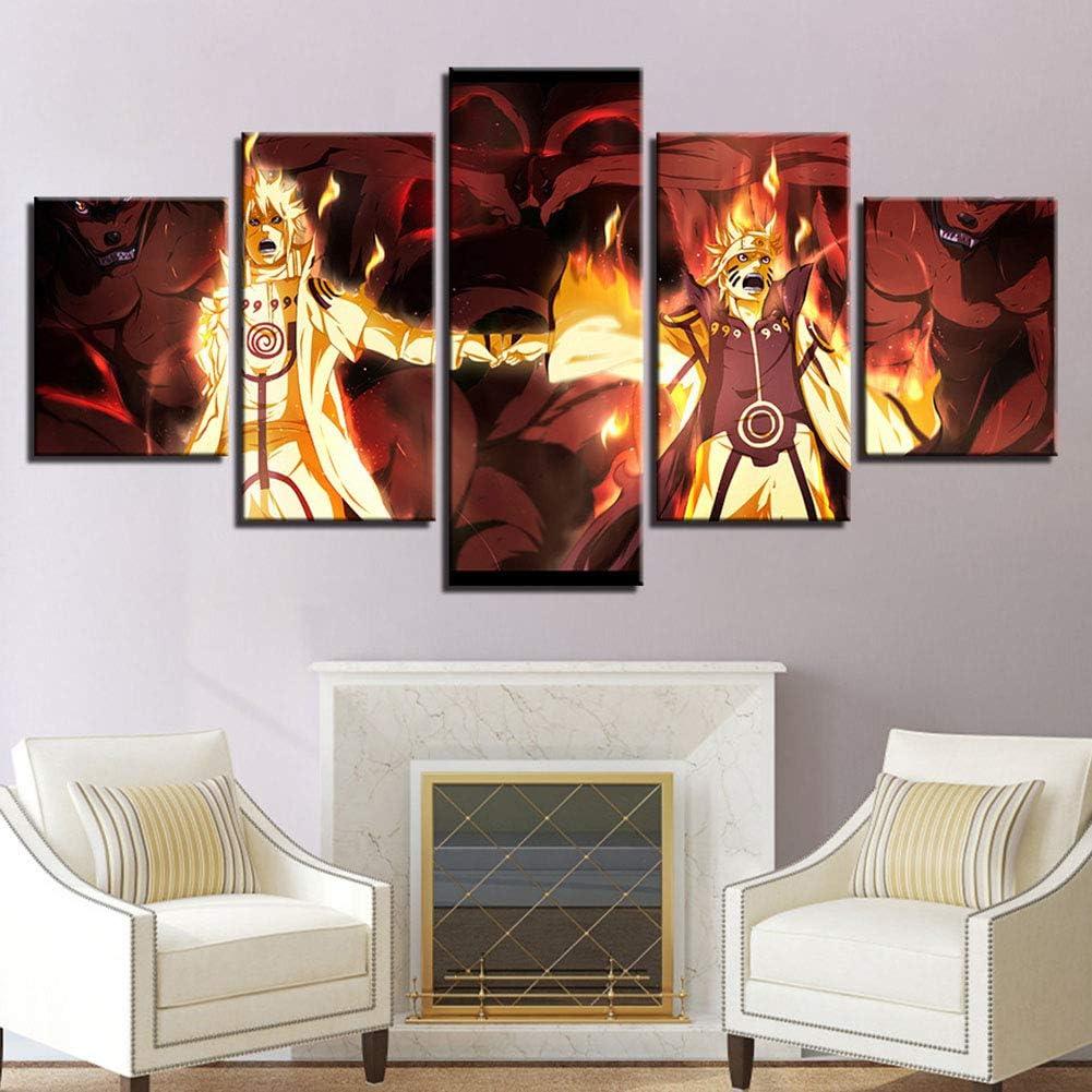 ZEMER Uzumaki Naruto VS Namikaze Minato Impressions sur Toile 5 Pi/èces Naruto Personnage Affiche Gicl/ée Art Mural HD Moderne D/écorations pour La Maison,A,20x35x2+20x45x2+20x55x1