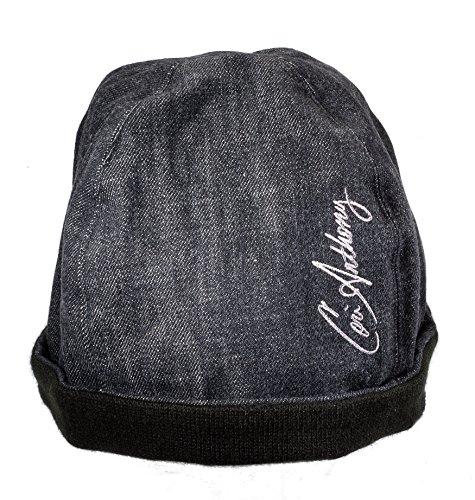 Cori Anthony Denim Double Up Beanie Men's Stone Black Custom Warm Winter Hat (Small)