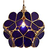 Bieye L10746 Flower Petal Tiffany Style Stained Glass Ceiling Pendant Light with 8-inch Wide Lampshade (Blue)