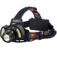 Elekin LED head torch, 2000 lm bulb, waterproof, USB rechargeable, LED headlamp, torch light with 4 brightness levels, zoom head lamp, perfect for jogging, mountain climbing, fishing, trekking.