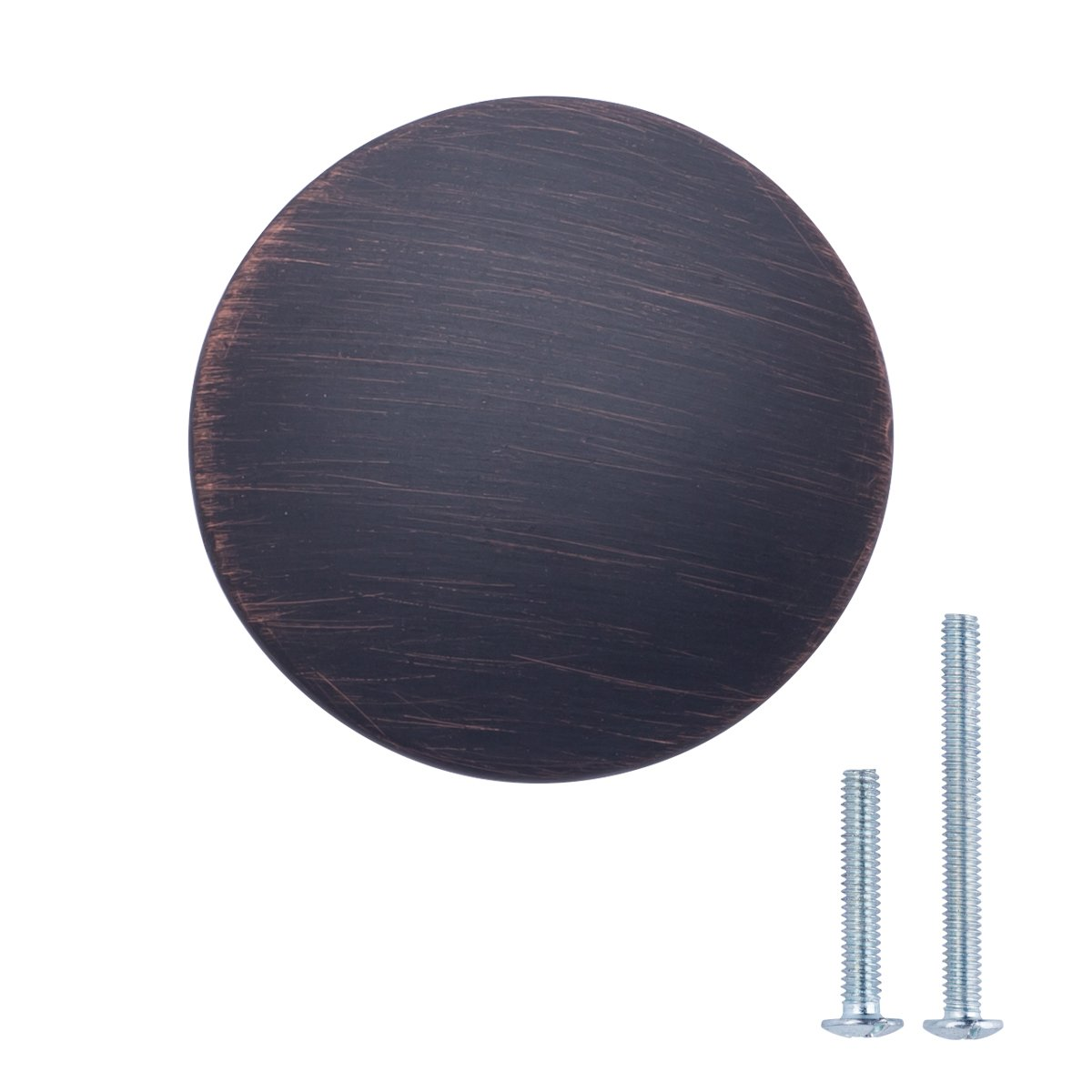 "AmazonBasics (AB600-OR-25) Round Flat Cabinet Knob, 1.37"" Diameter, Oil Rubbed Bronze, 25-Pack"