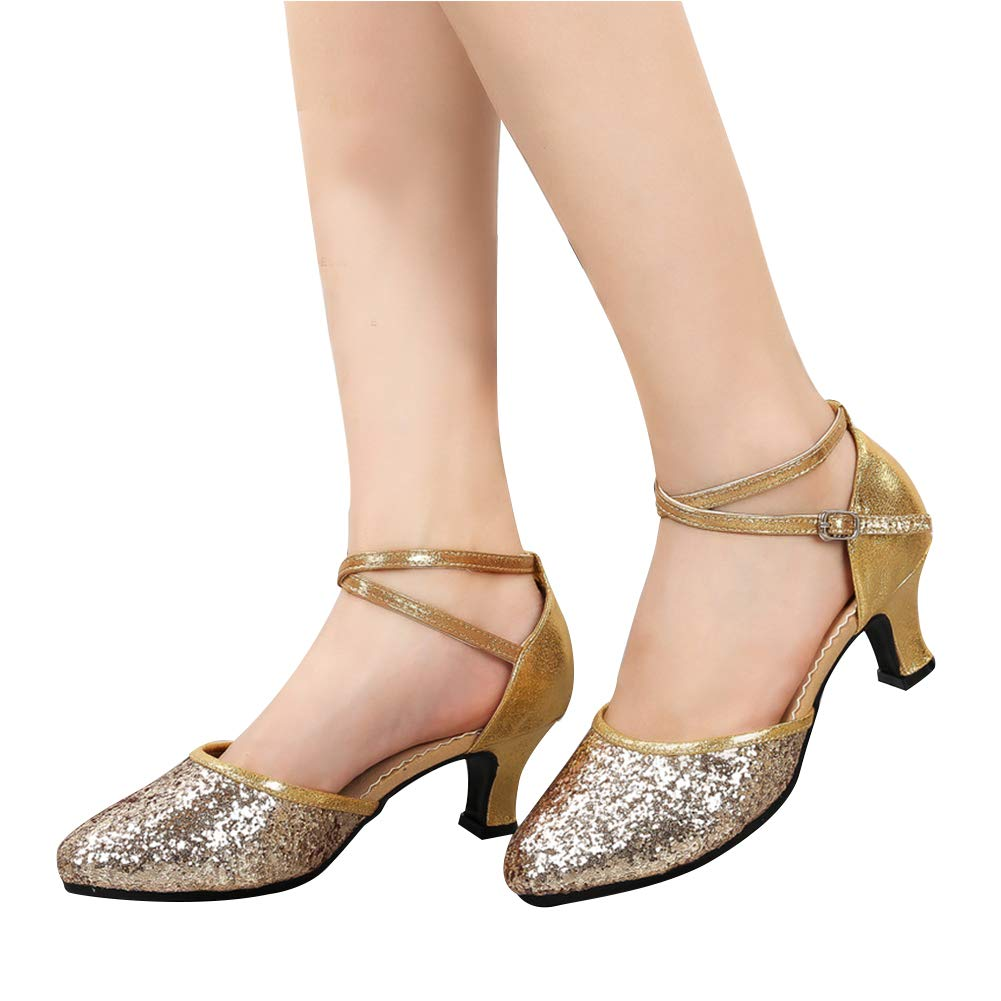 Daytwork Est/ándar Latinos Salsa Baile Zapatos Mujer Mujeres Brillos Hebilla Zapatos Latinos Sal/ón Tango Danza Calzado Sandalias Performance Bailarina Informal Pr/áctica Aire Libre Deportes
